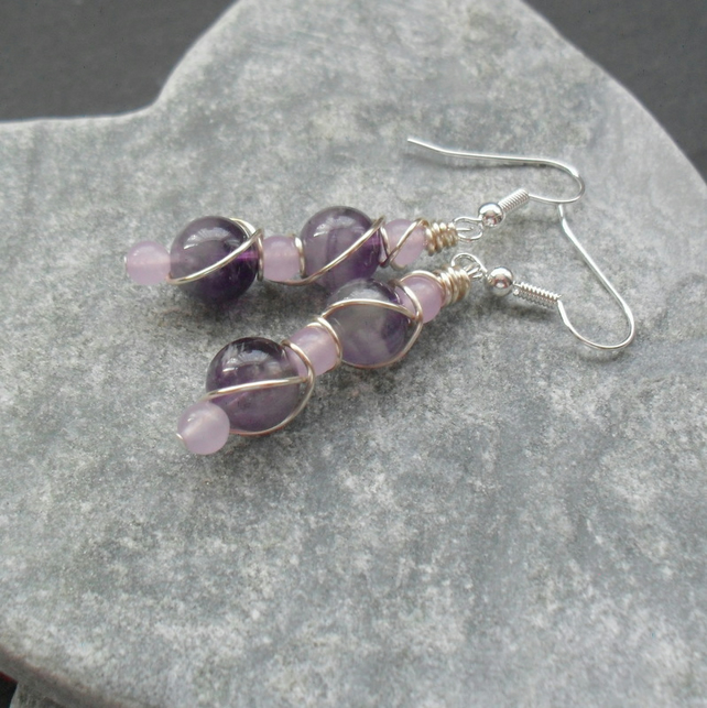 Wire Wrapped Sage Amethyst Silver Plated Drop Earrings