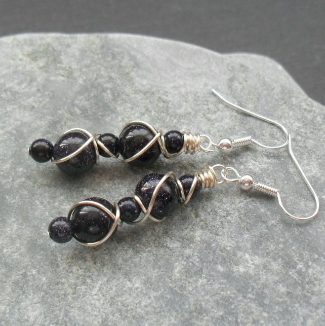 Wire Wrapped Blue Goldstone Silver Plated Drop Earrings