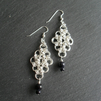 Chain Mail Earrings With Blue Goldstone Sterling Silver Ear Wires