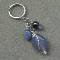 Blue Agate With Quartz and Haematite  Keyring Silver Tone