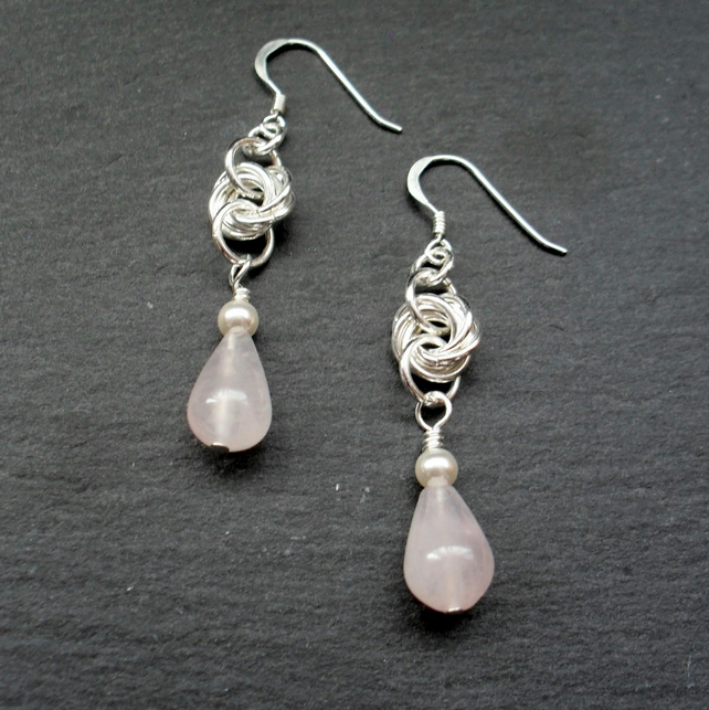 Drop Earrings With  Rose Quartz Sterling Silver Ear Wires