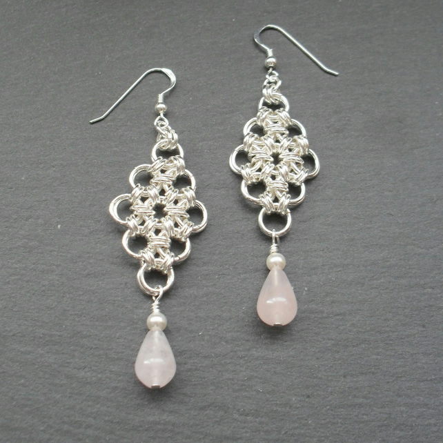 Chain Mail Earrings With Rose Quartz Sterling Silver Ear Wires