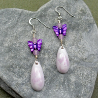 Handmade Lilac Resin Beads With Purple Shell Butterfly Earrings