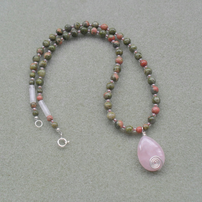 Unakite Semi Precious gemstone Necklace Sterling Silver