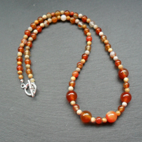 Carnelian and Fossil Coral  Beaded Necklace