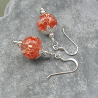 Sterling Silver Handmade Resin Beads Earrings Rose Gold Colour