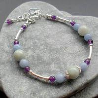 Jadeite Angelite and Amethyst Bracelet Sterling Silver Stacker  Bracelet
