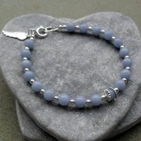 Sterling Silver Angelite Semi Precious Gemstone Bracelet With Angel Wing Charm