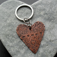 Mummy Copper Heart Keyring Vintage Style
