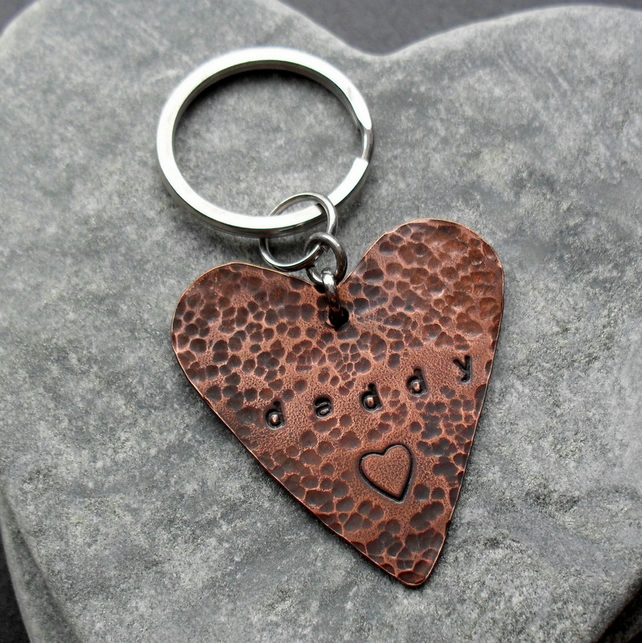 Daddy Heart Keyring Vintage Style