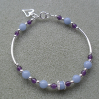 Angelite and Amethyst Sterling Silver Bracelet
