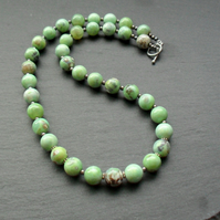 Green Marble Agate With Oxidised Sterling Silver