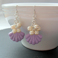 Lilac Resin Shell and Pearl Earrings With Swarovski® Elements
