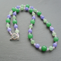 Green Aventurine and Lilac Quartzite  Beaded Necklace