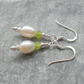 Freshwater Pearl Peridot Sterling Silver Drop Earrings