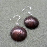 Disc Shaped Copper Earrings With Dandelion Detail Sterling Silver Ear Wires