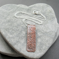 Vintage  Copper Bar pendant With Sterling Silver