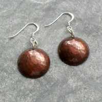 Disc Shaped Copper Earrings With  Sterling Silver Ear Wires