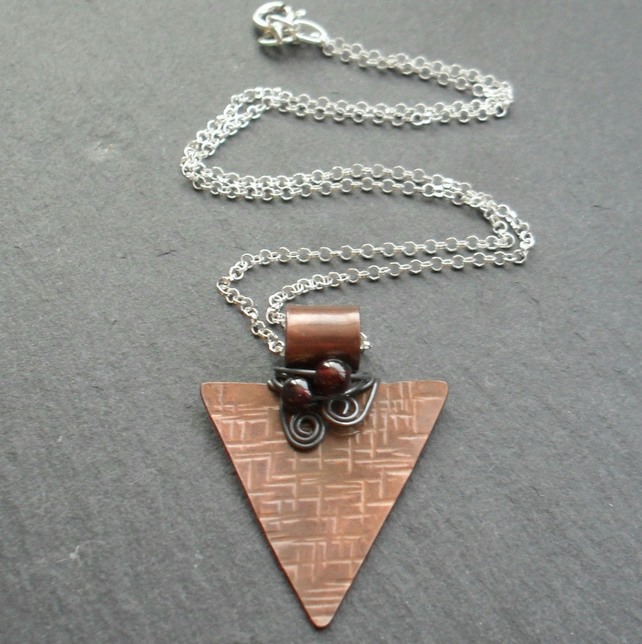 Copper Pendant With Garnet Sterling Silver Chain Vintage Style
