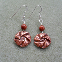 Copper Rose Earrings with Brown Goldstone and Sterling Silver
