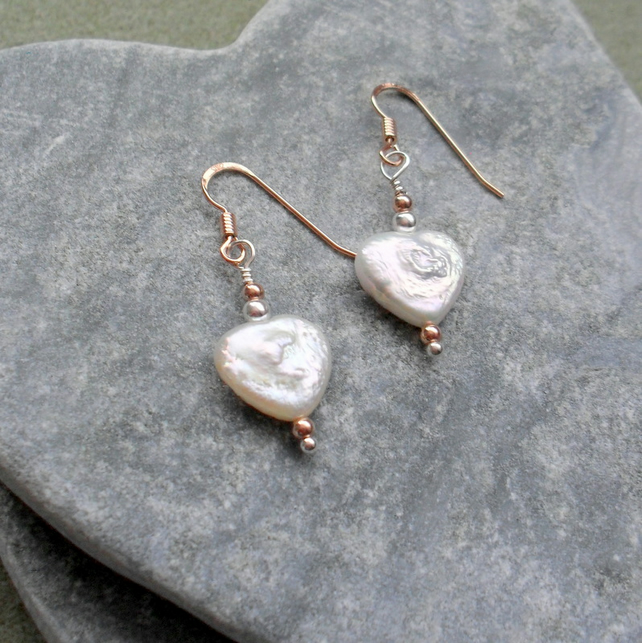 Freshwater Heart Shaped Pearl Earrings Sterling Silver and Rose Gold Vermeil
