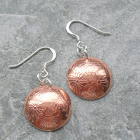 Copper Earrings With Dandelion Detail With Sterling Silver Ear Wires