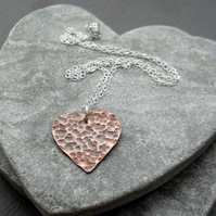 Copper Heart Pendant With Sterling Silver Chain Vintage
