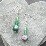 Green and Pink Agate Dangle Earrings