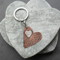 Copper and Sterling Silver Heart Keyring