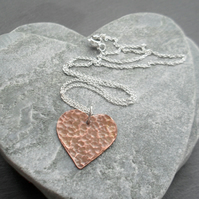 Textured Copper Heart Pendant With Sterling Silver Chain Vintage