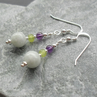 Burmese Jadeite Amethyst and Peridot Sterling Silver Drop Earrings