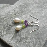 Freshwater Pearl Peridot and Amethyst Sterling Silver Drop Earrings