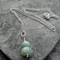 Amazonite Semi Precious Gemstone Sterling Silver Pendant