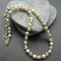 Freshwater Pearls Keshi Pearls Peridot Lilac Quartzite Sterling Silver Necklace
