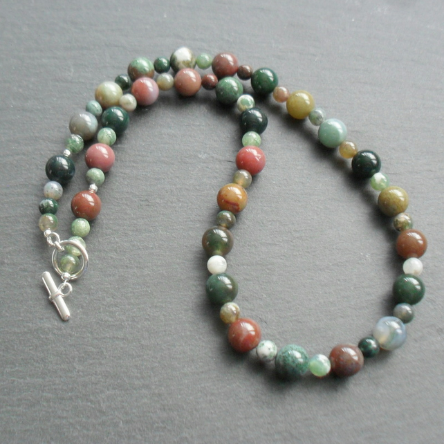 Fancy Jasper Beaded Necklace Silver Plate