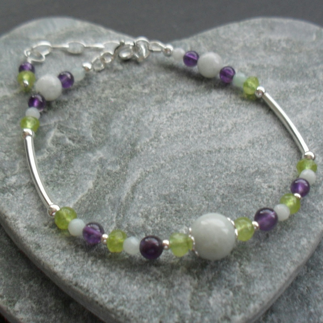 Jadeite Amethyst Peridot and Amazonite Gemstone Sterling Silver Bracelet