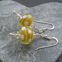 Sterling Silver Yellow Handmade Glass  Earrings With Swarovski Elements
