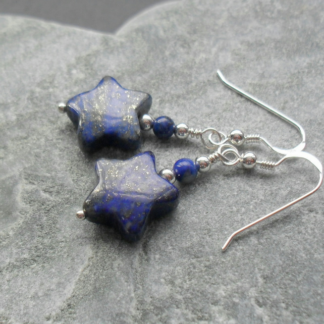 Natural Lapis Lazuli Stars Sterling Silver Drop Earrings