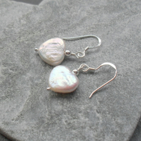 Freshwater Heart Shaped Pearl Earrings Drop Sterling Silver