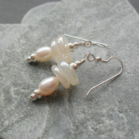Freshwater Pearl and Chalcedony Semi Precious Gemstone Sterling Silver Earrings