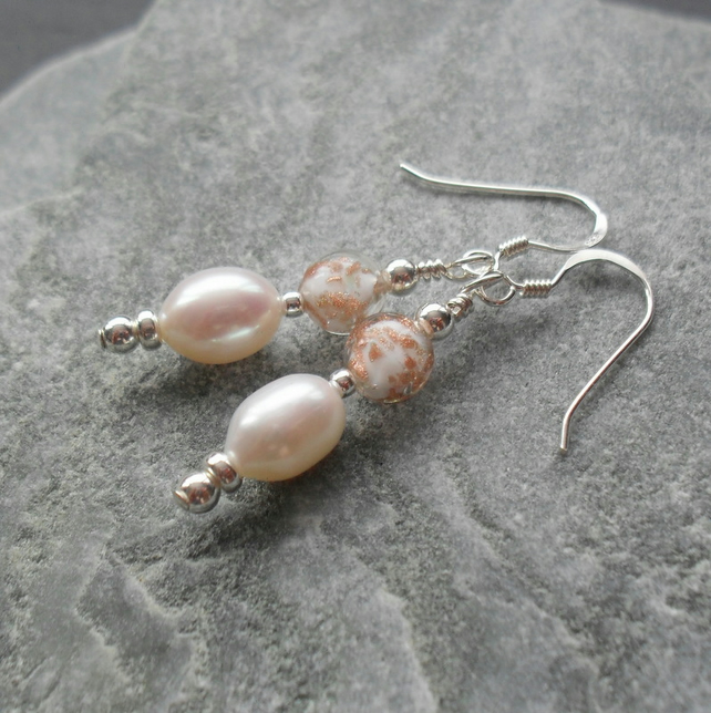 Murano Glass and Freshwater Pearl Sterling Silver Earrings