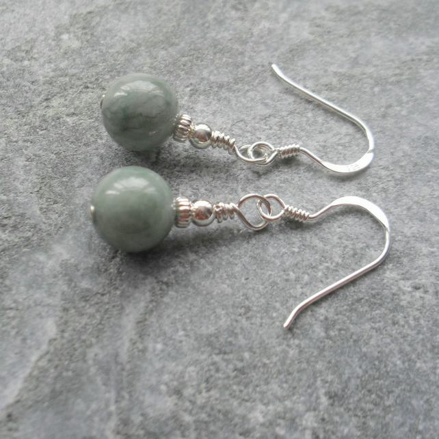 Burmese Jadeite Sterling Silver Drop Earrings