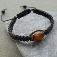 Tigers Eye Macrame Bracelet With Black Cotton Cord