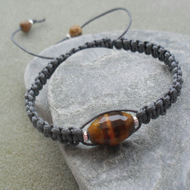 Tigers Eye Macrame Bracelet With Grey Cotton Cord and Sterling Silver