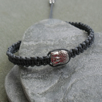 Buddha Sterling Silver Macrame Bracelet With Grey Cotton Cord and