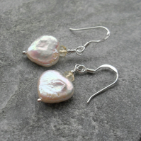 Freshwater Pearl Heart Shaped Earrings With Citrine Sterling Silver