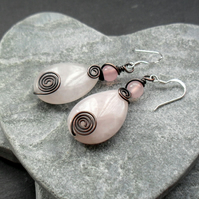 Copper Wire Wrapped Rose Quartz Drop Earrings Sterling Silver Ear Wires