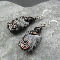 Copper Wire Wrapped Snowflake Obsidian Drop Earrings Sterling Silver Ear Wires