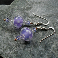 Sterling Silver Handmade Lilac Glass  Earrings With Swarovski Elements