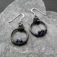 Oxidised Copper Hoops Lapis Lazuli Sterling Silver Ear Wires Dangle Earrings